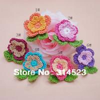 wholesale hand cotton crochet flower applique for baby dress hair pin headband  60pcs