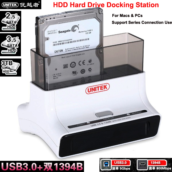 Free shipping Unitek Y-3603 Dual 1394B Firewire 800 / USB 3.0 to SATA III HDD Hard Drive Docking Station for Macs & PCs(China (Mainland))