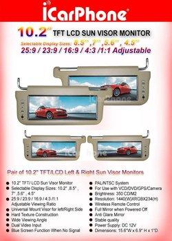 2 PCS of 10.2 inch SUNVISOR LCD car MONITOR+ FREE shipping