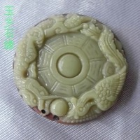Free shipping, hot, Wholesale andmade Carved Zipao Jade Bagua Pendant, Gem