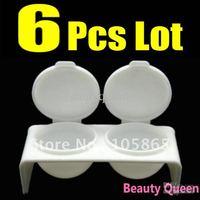 6 Pcs Lot Double DAPPEN DISH Case Acrylic Powder Liquid Gel Plastic Container 3D UV Nail Art Tip * FREE SHIP