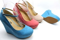 2015 HOT ! EUR SIZE 35-41 Women's Wedge shoes for Lady Wedges & Black,blue,pink,beige