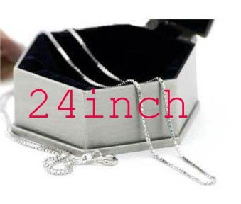 Wholesale Free shipping - 24 inch long 1mm solid silver box chain, silver necklace c2(China (Mainland))