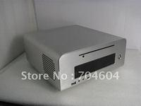 MINI-ITX HTPC CASE,Full aluminum alloy (silver) DC-ATX PSU/3.5 HDD or 2.5 HDD support/