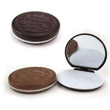 Free Shipping Cocoa Cookies Design Mirror Make Up And Comb(China (Mainland))