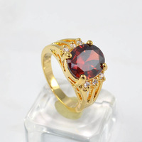 Ruby Yellow Gold Filled Ring Lady's 10KT Finger Rings For Women Female Jewelry Size 8 Free Shipping