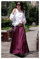 S0010 Free shipping high quality women's fashion Bohemia style  custom made long patchwork skirt with pocket