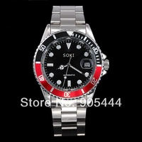 New SOKI Automatic Black Red Color Analog Date Mens Mechanical Wrist Band Watch W085