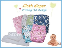 Free shipping wholesale PUL Printing Cloth Diaper /Nappy/Diaper/Waterproof pants/Velcro fasten/Snap fasten