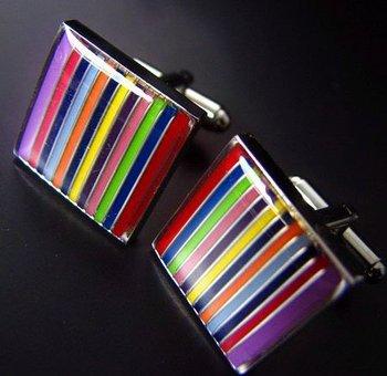 Rainbow Striped Square Cufflinks Men's Shirt Cuff Nail Jewelry Gift