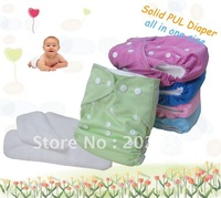 100pcs Free shipping wholesale /PUL Baby Cloth Diaper one nappy+ 2 inserts /Nappy/Diaper/Waterproof pants/Velcro pattern