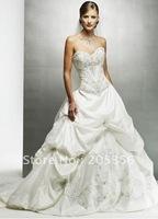Free shipping 2013 stylish ruffle beading ball gown embroidery sweetheart elegant bridal wedding dress