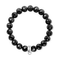 European Style Fashion Bracelet 925 Silver Black Circular Cut Crystal Beads Elastic Bracelet Free Shipping TMS-MBR045