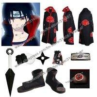 Freeshipping-anime products Naruto akatsuki cosplay costume cloak set Uchiha itachi