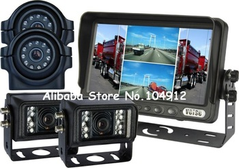 "Heavy Duty, 7"" Quad Backup Rear View Reverse System Side View Camera, WHOLESALE"