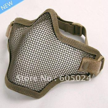 Tactical TMC BB Gun Metal Steel Wire Hunting Half Face Mesh Airsoft Mask Khaki