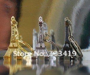 3D Eiffel Tower French france souvenir paris KeyChain Ring keyring keyfob cute Adornment slivery golden bronze CN post