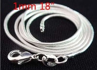FREE SHIPPING! Wholesale 20 PCS 925 Sterling Silver 1mm snake chain 18 inch,925 silver jewelry,925 silver fashion chain necklace