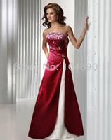 freeship New Debutante dress A-line Strapless Pleated Floor Length Satin Bridesmaid Dresses/Dress claret