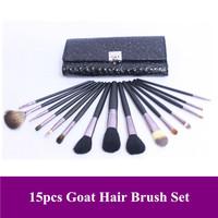 Free Shipping! Pro 15pcs natural animal goat hair makeup Brush Set With Black alligator skin leather Case bag, Dropshiping