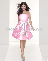 free ship,light pink bridesmaid dresses,bowknow, ball gown,short dress,pink