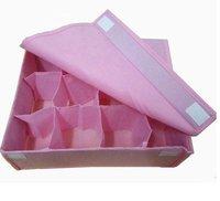 HOT SALE storage bags cases stool underwear storage box Organizer Holder Box Closet BRA storage box with cover 12 lattices pink
