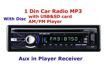 free shipping for 1 DIN car radio MP3 CD+FM+USB+SD+Aux in