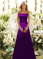 free ship,New evening dress, strapless party dress,A-line, floor-length,purple
