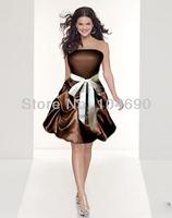 free ship,white sash, strapless bridesmaid dress, ball gown,short dress,coffee