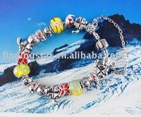 FREE SHIPPING 3PCS European Style Lucky Flower Charm Bracelet #20072