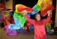 100% Real Silk fan veil for Belly Dance Rainbow Silk Fan Veil Long Fan Veil 1.8m In Stock Free Shipping