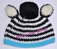 Retail Zebra Striped Baby Boy Beanies With ear pom pom Free Shipping