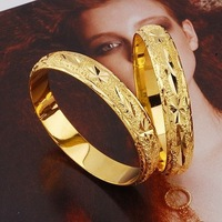 Free Shipping!!! Wholesale Quality Women's 24K Yellow Gold Plated Bangle Bracelets, With Flower Pattern! (110310-07, 3 pcs/lot)