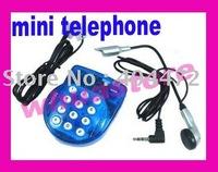 6pcs free shiping Mini Handsfree Home Telephone w Head Phone Microphone