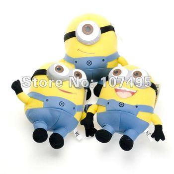 3 pcs/lot Despicable ME Movie Plush Toy 10 inch 25cm Minion 3D eye Jorge Stewart Dave baby educational toys