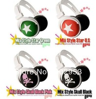 Mix Color Star Pattern 3.5mm PC Earphone Headphone,Mini Cute Earphone mp3 mp4 phone laptop Headphone Free Shipping