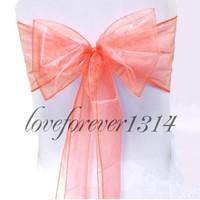 "100 pieces 8"" (20cm) W x 108"" (275cm) L Wedding Banquet Coral Chair Organza Sash  Decoration Baby Shower Party  Decor Supplies"