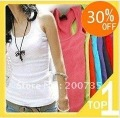 t shirt Wholesale Women's Cotton T Shirts long Tops Free shipping Pure Color 10Pcs/lot