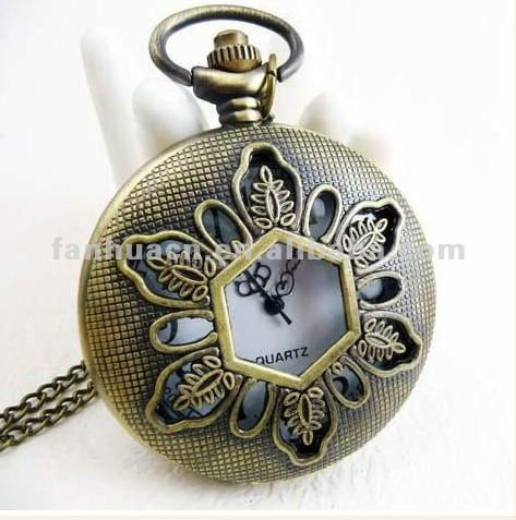 Costume jewelry fashion hollow out flower antique pocket watch and free shipping(China (Mainland))