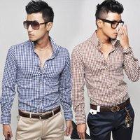 6048 New Mens Slim Fit Stylish Dress Shirts Long Sleeve Colours:Blue  Brown US Size:XS,S,M,L