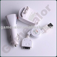 free shipping FOR IPOD USB DATA CABLE+CAR+WALL HOME AC CHARGER #9753
