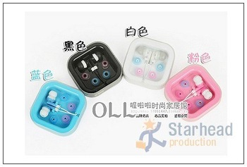 Free Shipping, Fashion candy color In-ear Stereo Earphone Headphone earplug for iphone ipod MP3, Noise Cancelling,with CASE