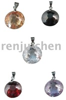 50 pcs mixed color faceted bicone zircon pendants M19286-19287 Free shipping