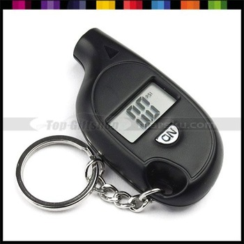 Free Shipping!!! Mini 0.6 inch Portable LCD Digital Tire Pressure Gauge with key chain