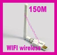 1pc free shipping Mini USB 150M WiFi Wireless Lan Network Card Adapter 2dbi Antenna