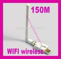 5pc free shipping Mini USB 150M WiFi Wireless Lan Network Card Adapter 2dbi Antenna