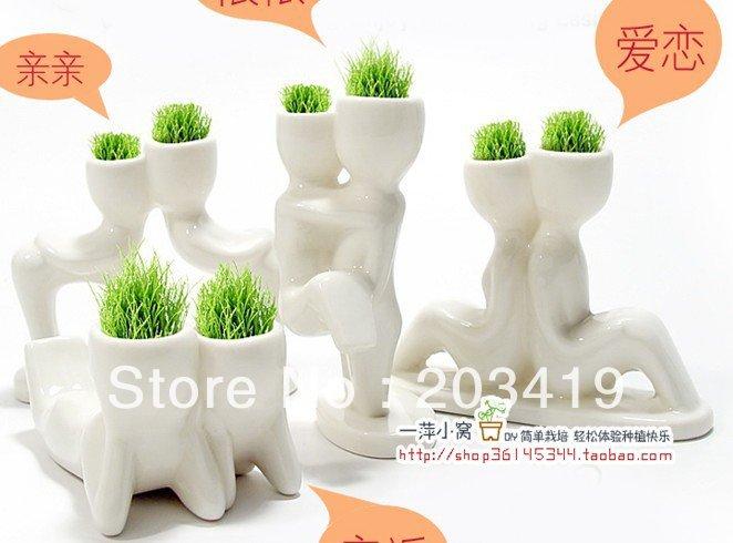 Creative Gift Plant Hair man X lover Plant Bonsai Grass Doll Office Mini Fantastic Home Decoration wholesale(China (Mainland))
