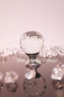 Clear crystal cabinet knob\10pcs lot free shipping\30mm\brass base\chrome plated