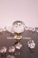 Clear crystal cabinet knob\10pcs lot free shipping\30mm\brass base\brass polished plated