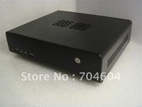 MINI-ITX HTPC CASE,Full aluminum alloy (black) DC-ATX PSU/2.5' HDD/Front USB / AUDIO Interface